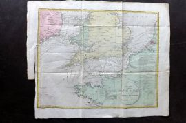 Lyttleton 1811 HCol Map. Chart of the British Channel. English Channel UK France